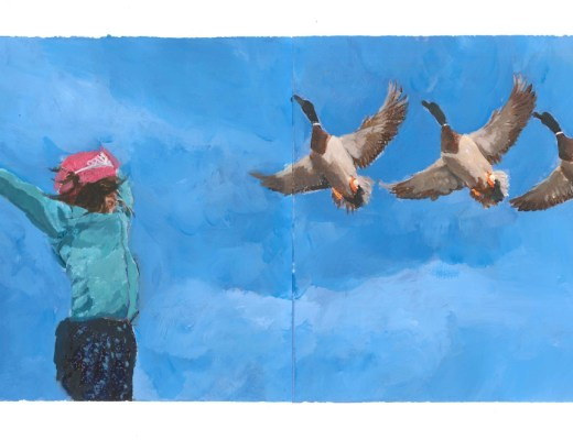 Illustration inside of Northern Princess. A girl looking up at 3 flying Canadian geese