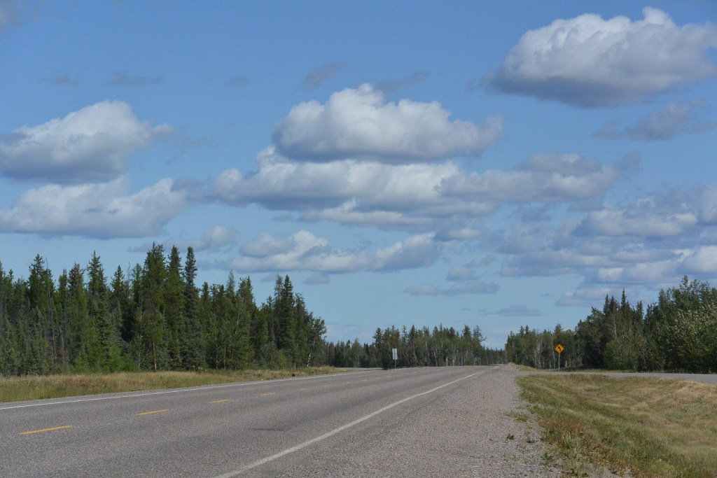 View of the road, sky, and trees on Myranda's travel during a pandemic