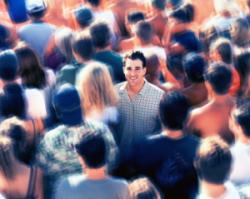 commuting walking against crowd