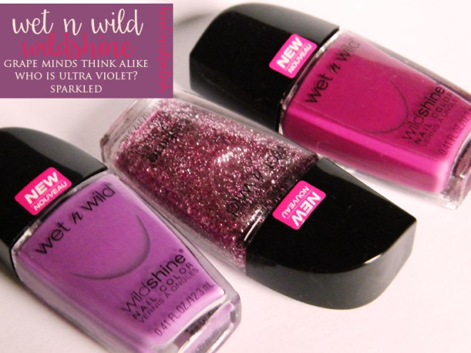 Wet n Wild Wild Shine Grape Minds Ultra Violet Glittered Bottles Review Swatches