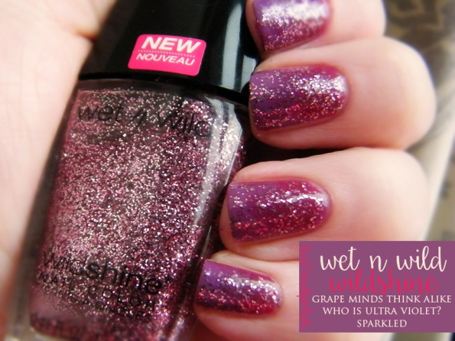 Wet n Wild Wild Shine Grape Minds Ultra Violet Glittered Gradient Nails Review Swatches