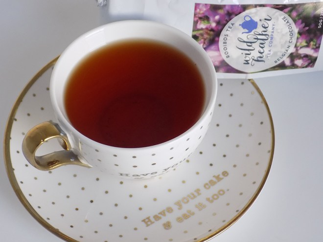 Wild Heather Belgian Chocolate Rooibos Tea Review Cup Bag