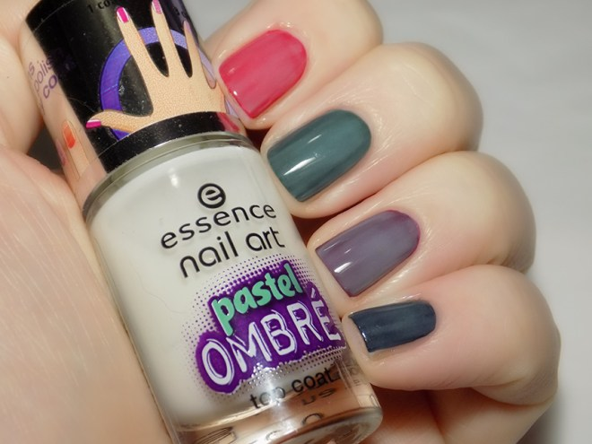Essence Pastel Ombre Nail Polish Swatch Over Dark Polishes