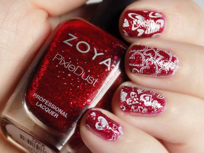 Valentine's Day Nail Art - Red & White Hearts