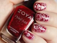 Valentines Nail Art - Red and White Hearts - Tea & Nail Polish