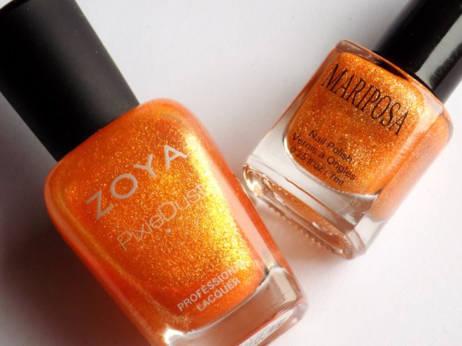 zoya beatrix pixie dust vs mariposa orange glitter dupe bottles