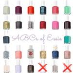 ABCs of Essie Alphabetical List of Essie Polishes for alphabet nails