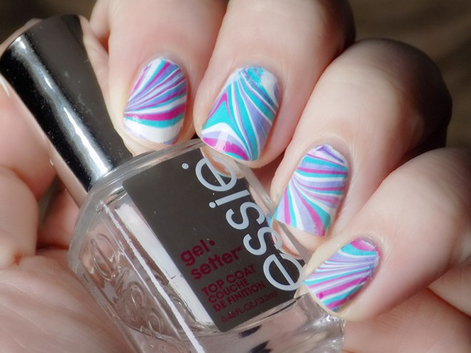 Essie Silk Watercolor Watermarble Nail Art