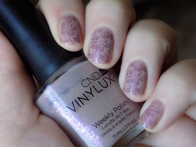 CND Vinylux Fragrant Freesia Stamped Nail Art