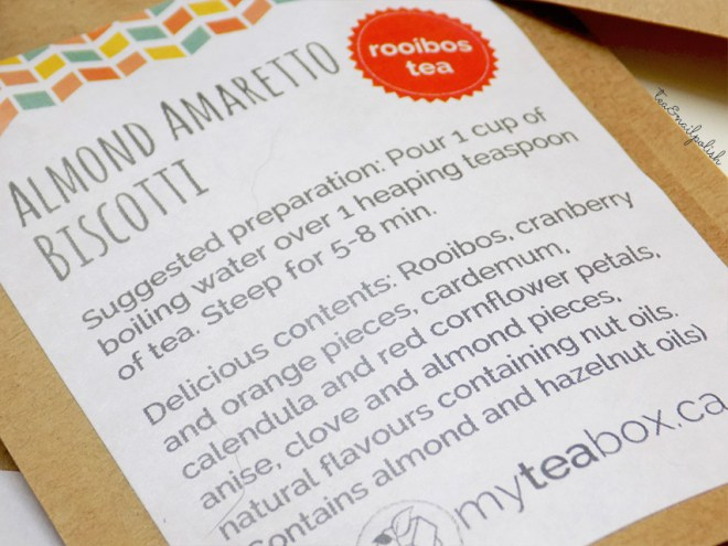 MyTeaBox Almond Amaretto Biscotti Packaging