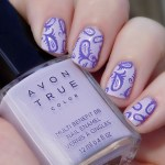 Avon True Color BB Nail Enamel Lilac Love stamped with MDU Fantasy Swatch Sunlight