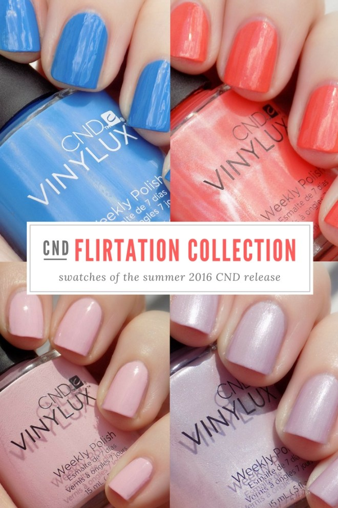 CND Vinylux Flirtation Collection Swatches - Demure Swatch - Date Night Swatch - Lavender Lace Swatch - Desert Poppy Swatch