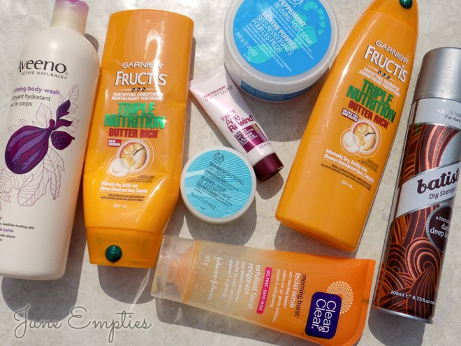 June Empties Garnier The Body Shop Aveeno Maybelline Batistle