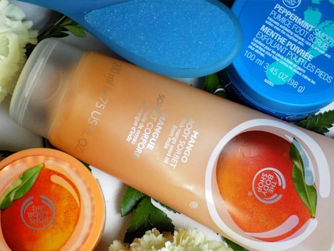 The Body Shop Summer Essentials Mango Sorbet - Mango Sugar Scrub - Peppermint Pumice Foot Scrub