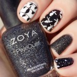 31dc2016 black and white stamped bird nails swatch