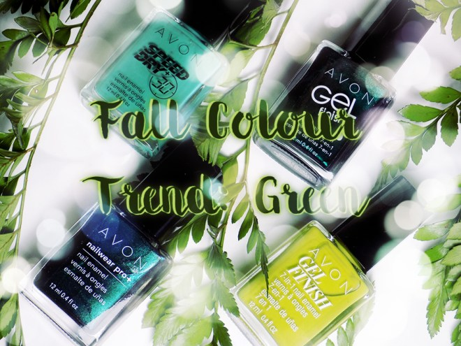 Avon Fall Trends - Green Nail Polishes - Citronized - Turquoise Pop - Noir Emerald - Envy
