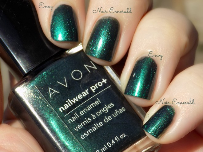 Avon Fall Trends - Nailwear Pro Noir Emerald vs Gel Finish Envy Comparison Swatches