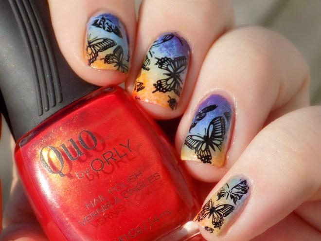 Rainbow Butterfly Nailart #31DC2016