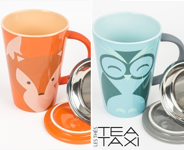 TeaTaxi Owl and Fox Mugs