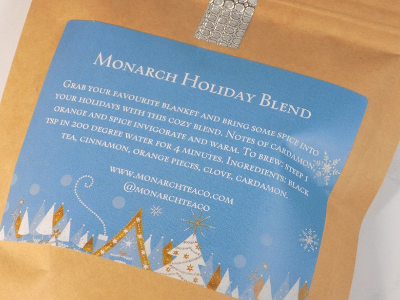 Monarch Tea Co Holiday Blend 2016 Review - Packaging
