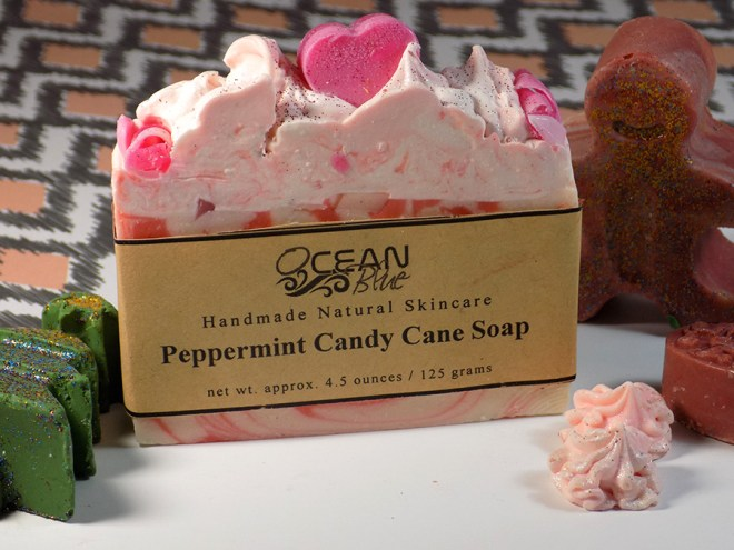 Ocean Blue Skincare Peppermint Candy Cane Soap and Christmas Soaps Review