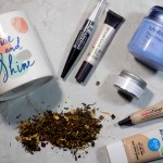 DavidsTea The Glow Review - PC Rise and Shine Mug - DavidsTea Resolutions Beauty Rest Products: Laneige Sleep Mask, Smashbox Undereye Primer, Essence Kohl White Liner, Covergirl Clean Matte, Hard Candy Glamoflauge