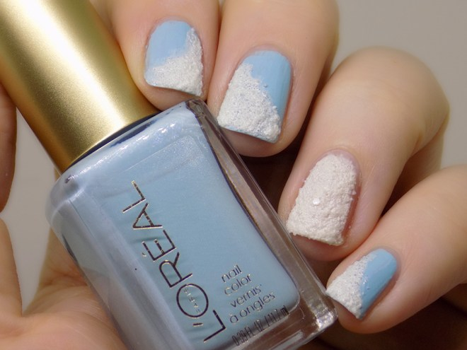 Snowy Manicure - Loreal Wispy Clouds 727 and China Glaze Theres Snow One Like You Manicure Swatches