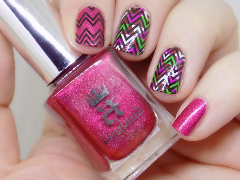 BP-Y03 Born Pretty Wave Design over A England Shall Be My Queen Swatch and Review