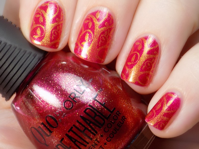 Born Pretty BP-L001 Stamping Plate - Quo Stronger Than Ever - BP Gold 5ml - Swatch