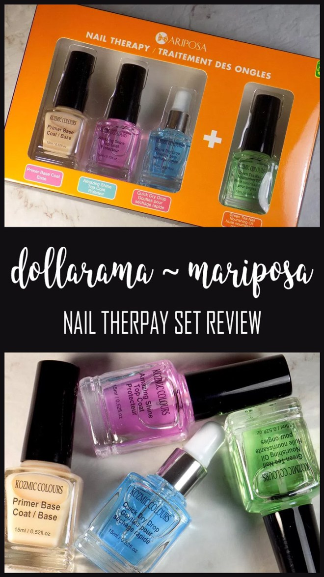 mariposa - dollarama nail therapy set review - affordable nail care ~ Mariposa - Kozmic Colours Nail Therapy Set With Quick Dry Drops and Green Tea Cuticle Oil