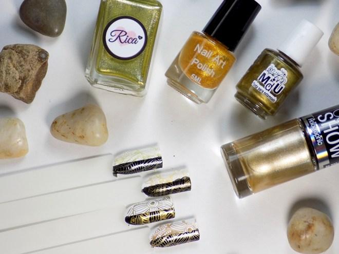Comparing Gold Stamping Polishes - Rica Golden Egg, Born Pretty, Mundo de Unas and Maybeline Bold Gold