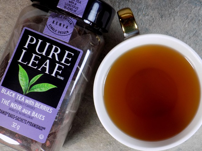 Pure Leaf Black Tea with Berries Tea Review - Brewed