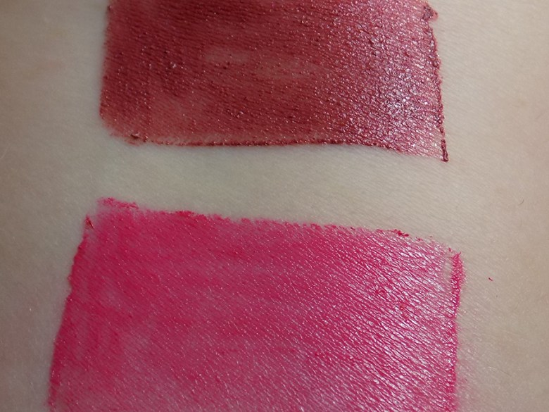 Avon True Color Lip Crayons - Swatches of Mauve Model and Rose Premier