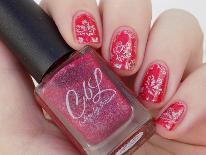 Colors by LLarowe Oh Canada - Stamped with Hit The Bottle Holo There Beautiful - Canada Day Nails - IEC - Artiicial Light
