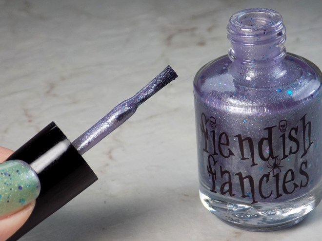 Fiendish Fancies 2nd Anniversary Polish - I Want My Cake Swatches and Review - Brush