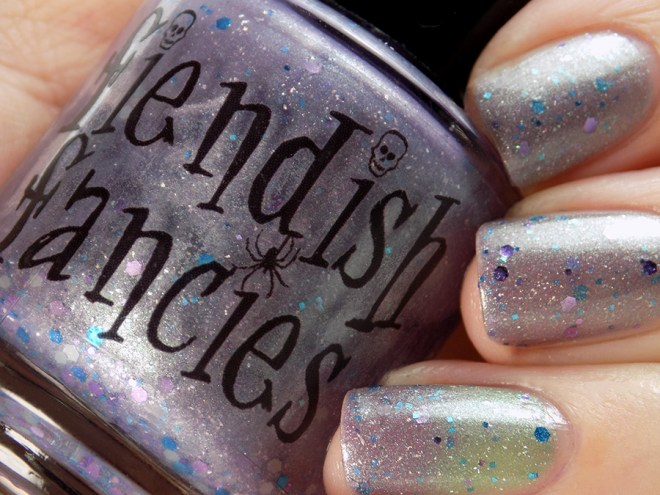 Fiendish Fancies 2nd Anniversary Polish - I Want My Cake Swatches and Review Closeup Bottle