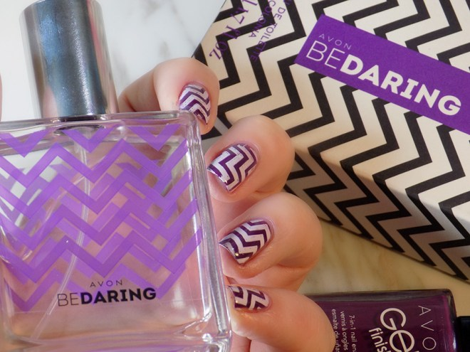 Avon Be Daring Fragrance Review and Matching Nail Art with Avon Purplicious
