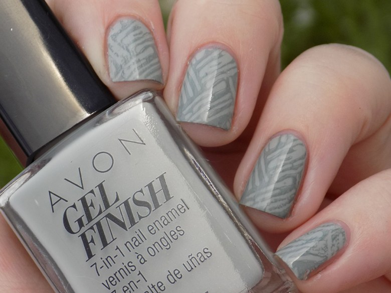 Avon Gel Finish Head In Clouds Nail Polish Swatch in Shade stamped with XYZ26 and BP Grey