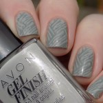Avon Gel Finish Head In Clouds Nail Polish Swatch in Sunlight stamped with XYZ26 and BP Grey