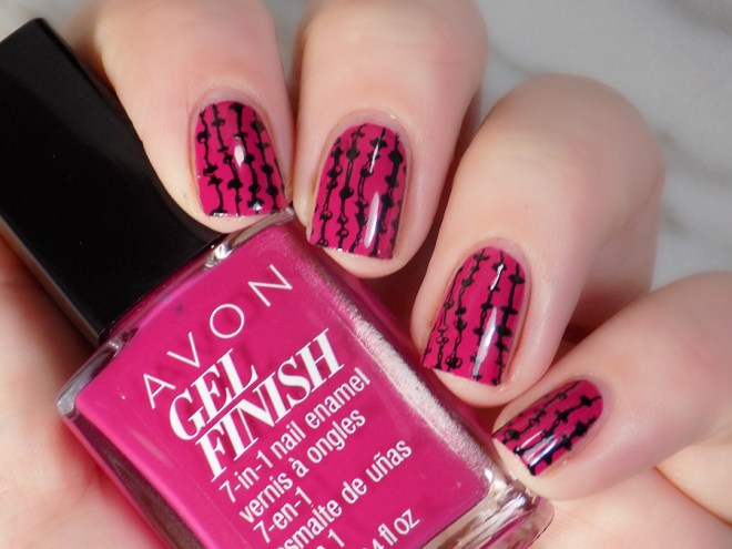 Avon Gel Finish Rose Noir Nail Polish Swatch with Stamping Using XYZ26 plate - Artificial Light