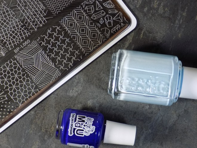 Essie Blue La La - Summer 2017 - Stamped with MdU Navy and BP-L060 - Supplies