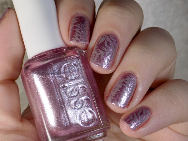 Essie Sil Vous Plait - Summer 2017 - Stamped with Born Pretty Grey BP19 leaf design swatches