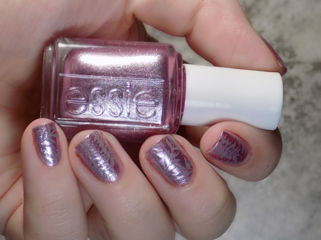 Essie Sil Vous Plait - Summer 2017 - Stamped with Born Pretty Grey BP19 leaf design