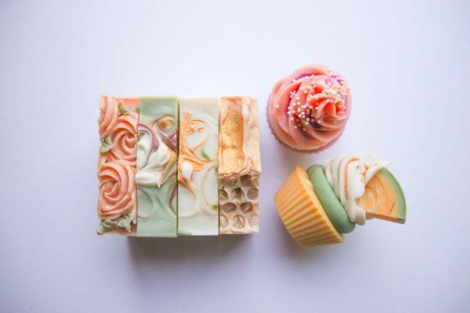 Stephanie Street Co vegan bars of soap $10, cupcake soaps $12