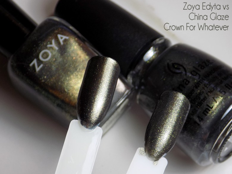 China Glaze Crown for Whatever compared to Zoya Edyta - Swatches
