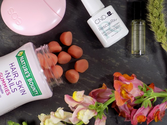 Growing Stronger Nails with Nature's Bounty Hair Skin and Nails - CND Rescue RXx and Cuter Cuticles