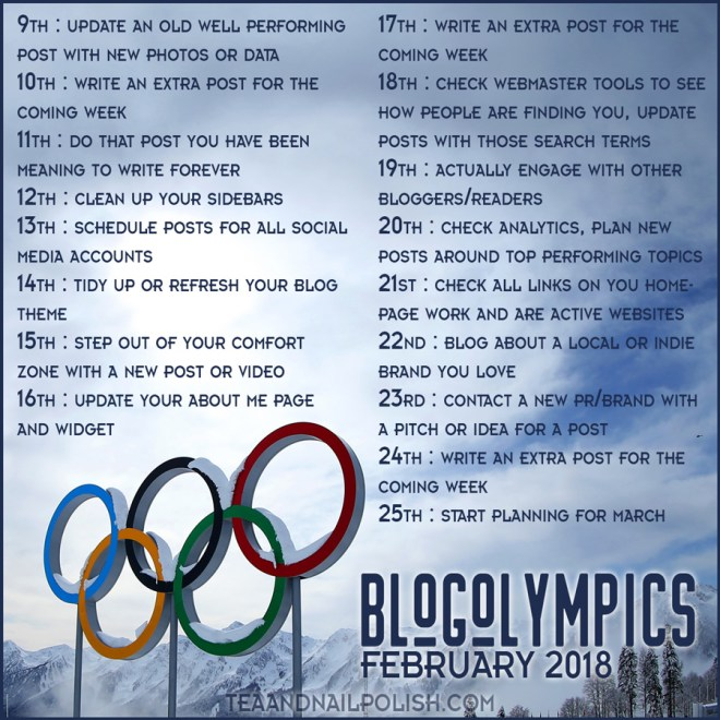 Blogolympics 2018 - 17 Day Blogging Challenge During The 2018 Winter Olympics
