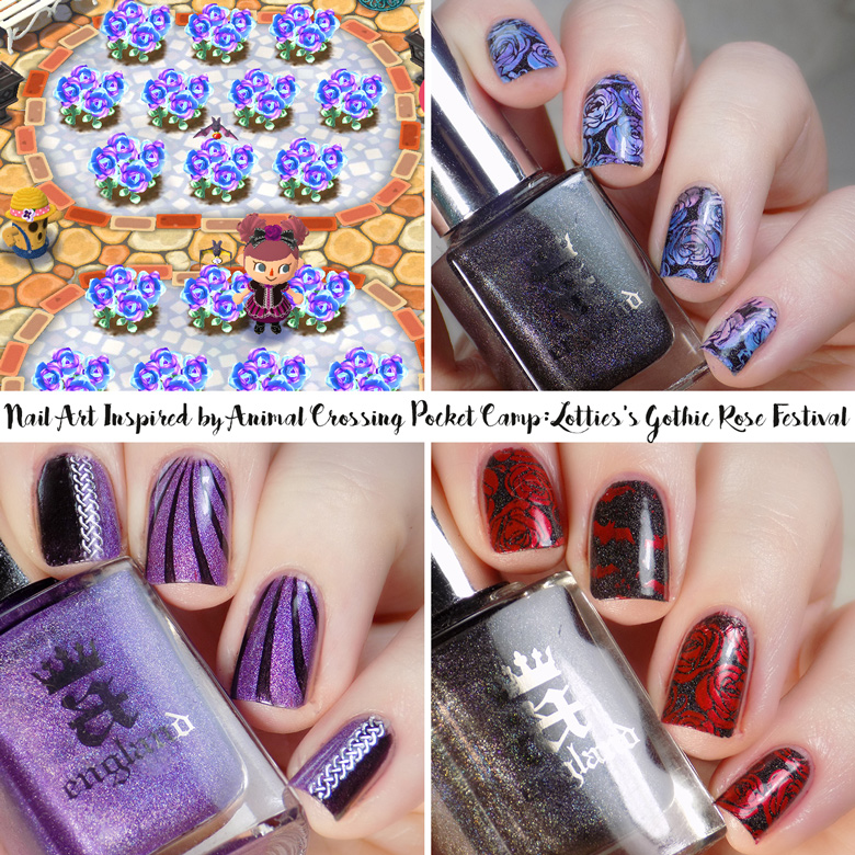 Animal Crossing Pocket Camp Lotties Gothic Rose Festival Nail Art