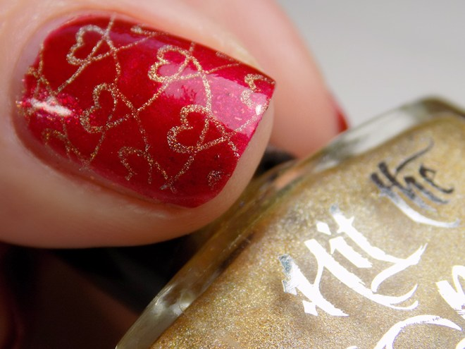 Fiendish Fancies Sleep Eludes Me - Hit The Bottle Glint of Gold - Valentines Day Nails - Heart Swatches and Review