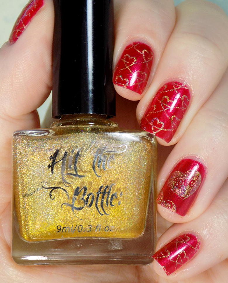 Fiendish Fancies Sleep Eludes Me - Hit The Bottle Glint of Gold - Valentines Day Nails Swatch and Review
